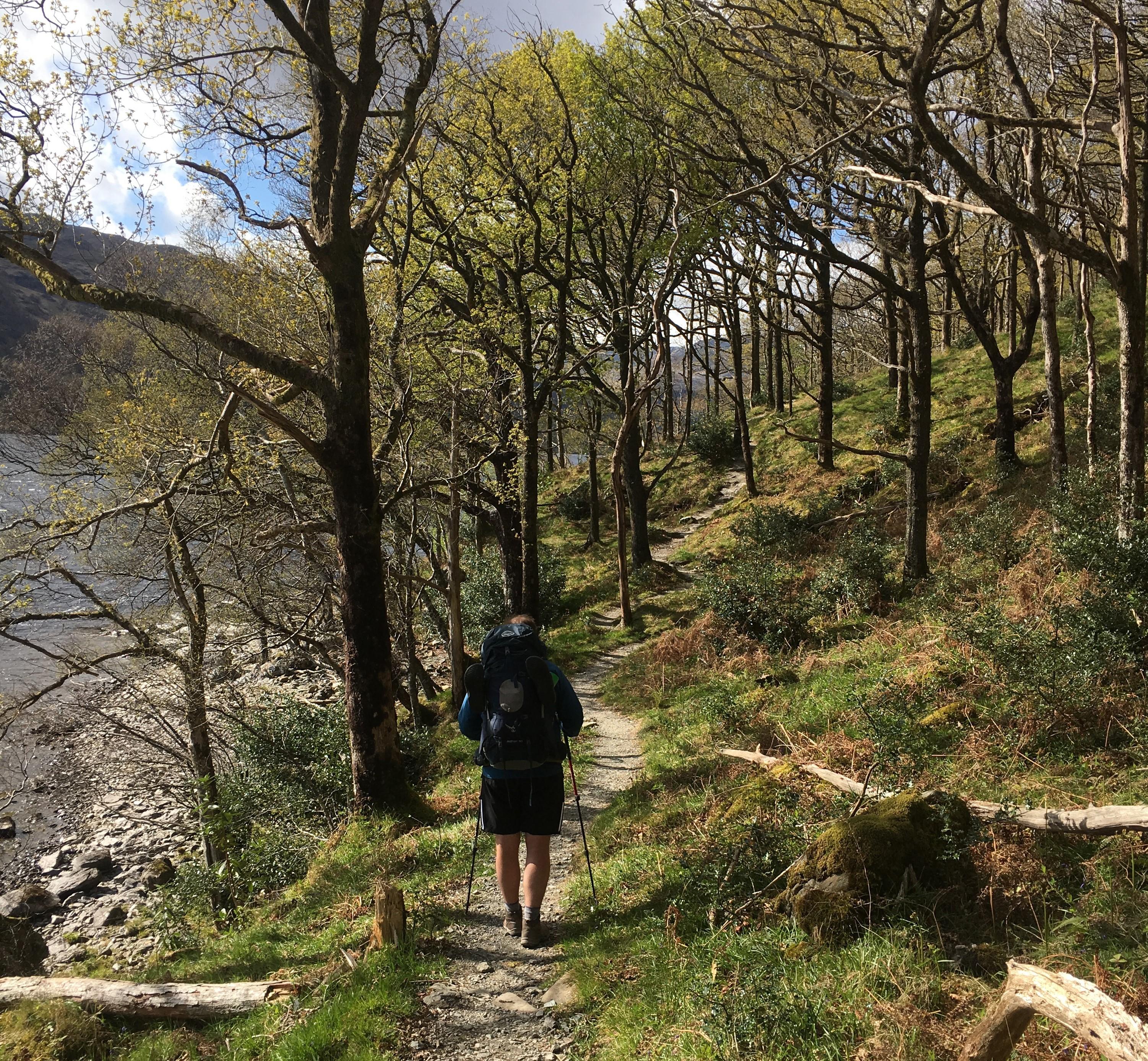 Walking along a rocky path