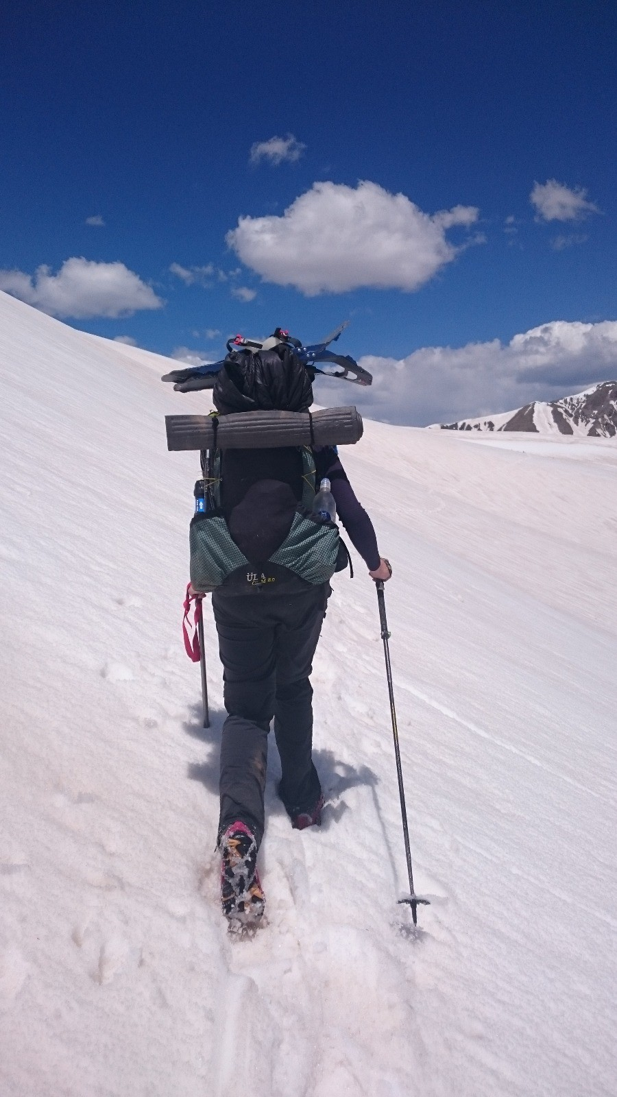 Walking in snow with poles