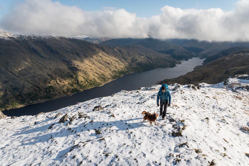 The summit of Meall nan Creag Leac high above Loch Shiel.