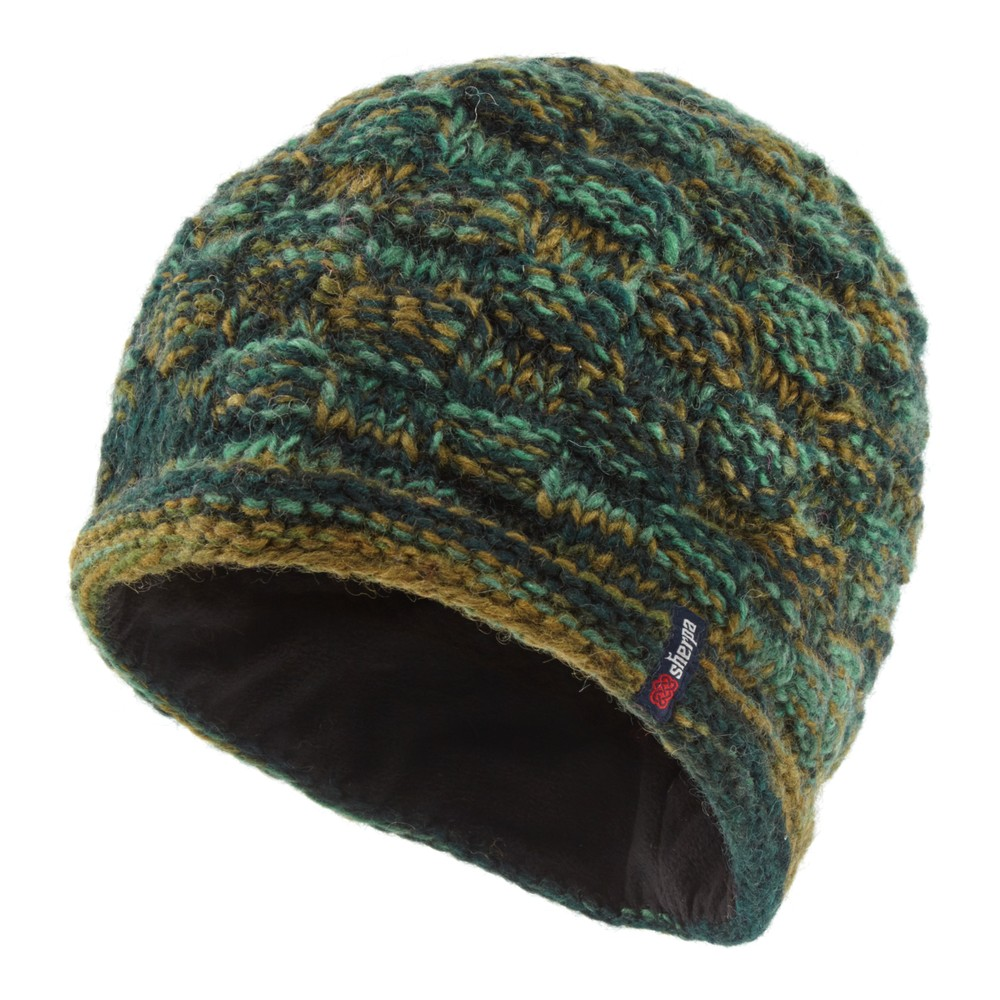 Sherpa Basket Weave Rimjhim Hat Rathna green