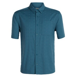 Icebreaker Compass SS Shirt Mens in Thunder/Timberwolf/Dobby