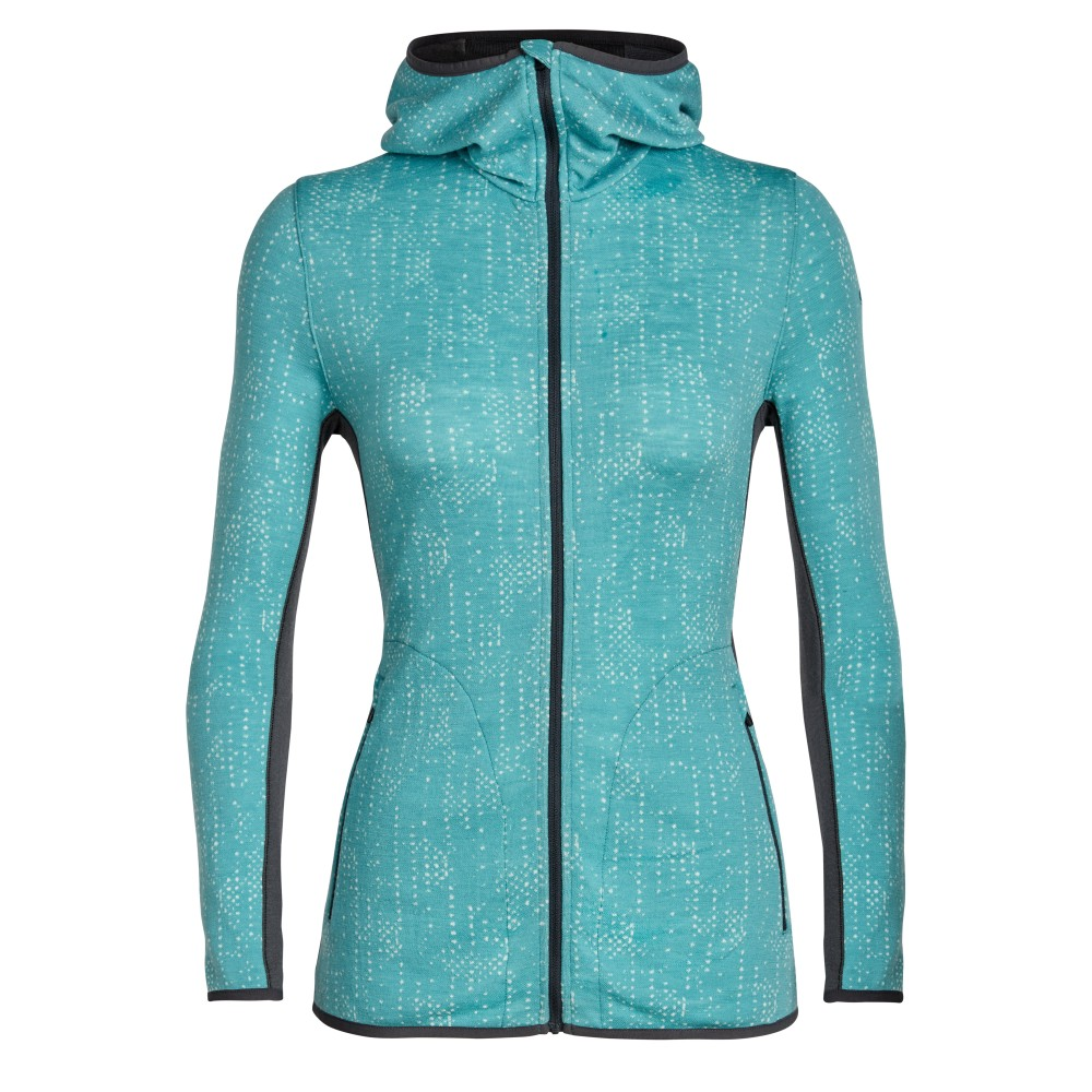 Icebreaker Away LS Zip Hood Showers Womens Ocean/Monsoon