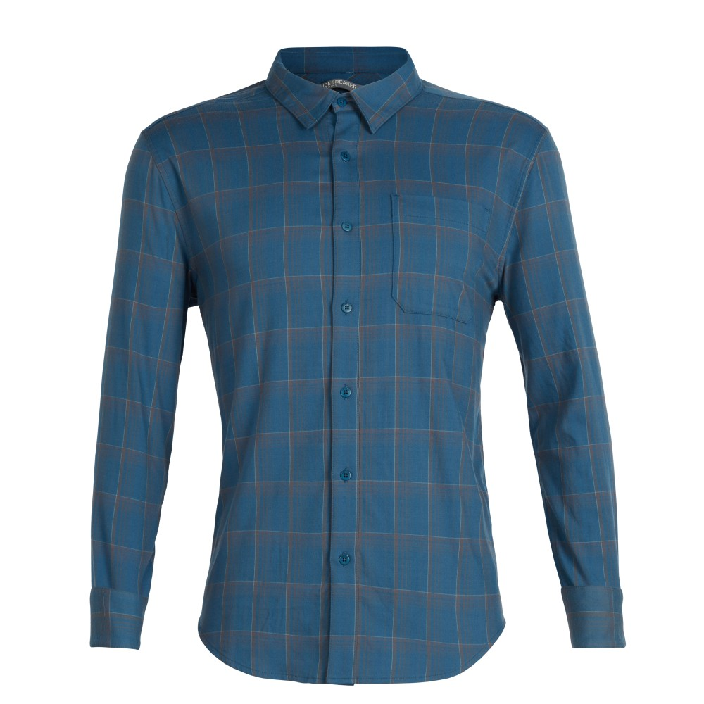 Icebreaker Compass Flannel LS Shirt Mens Thunder/Timberwolf/Plaid