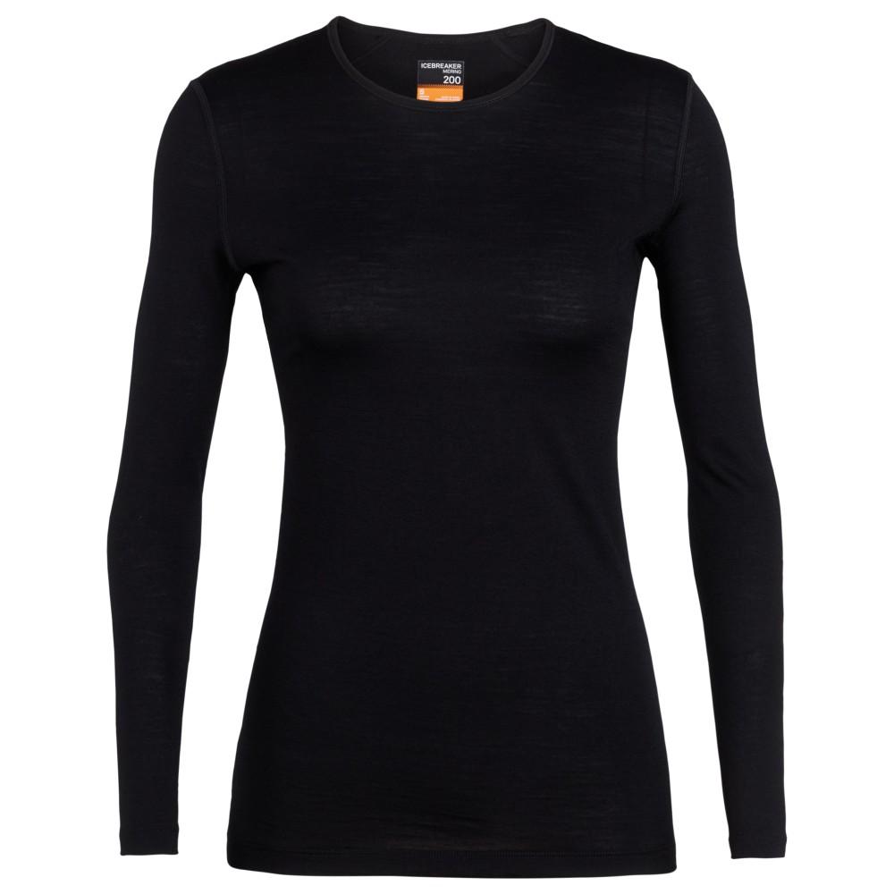 Icebreaker Oasis 200 LS Crewe Womens Black