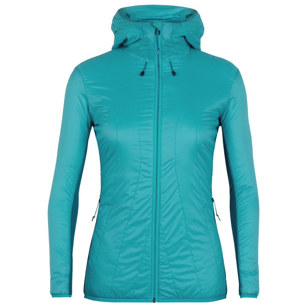 Icebreaker Hyperia Lite Hybrid Hooded Jacket Womens Arctic Teal/Kingfisher