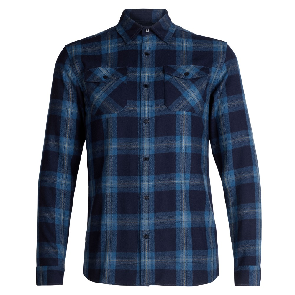 Icebreaker Lodge LS Flannel Shirt Mens Midnight Navy/Prussian Blue/Pl