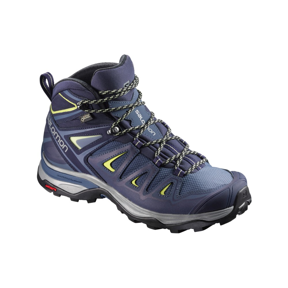 Salomon X Ultra 3 Mid GTX Womens Crown Blue/Evening B/Snny Lime