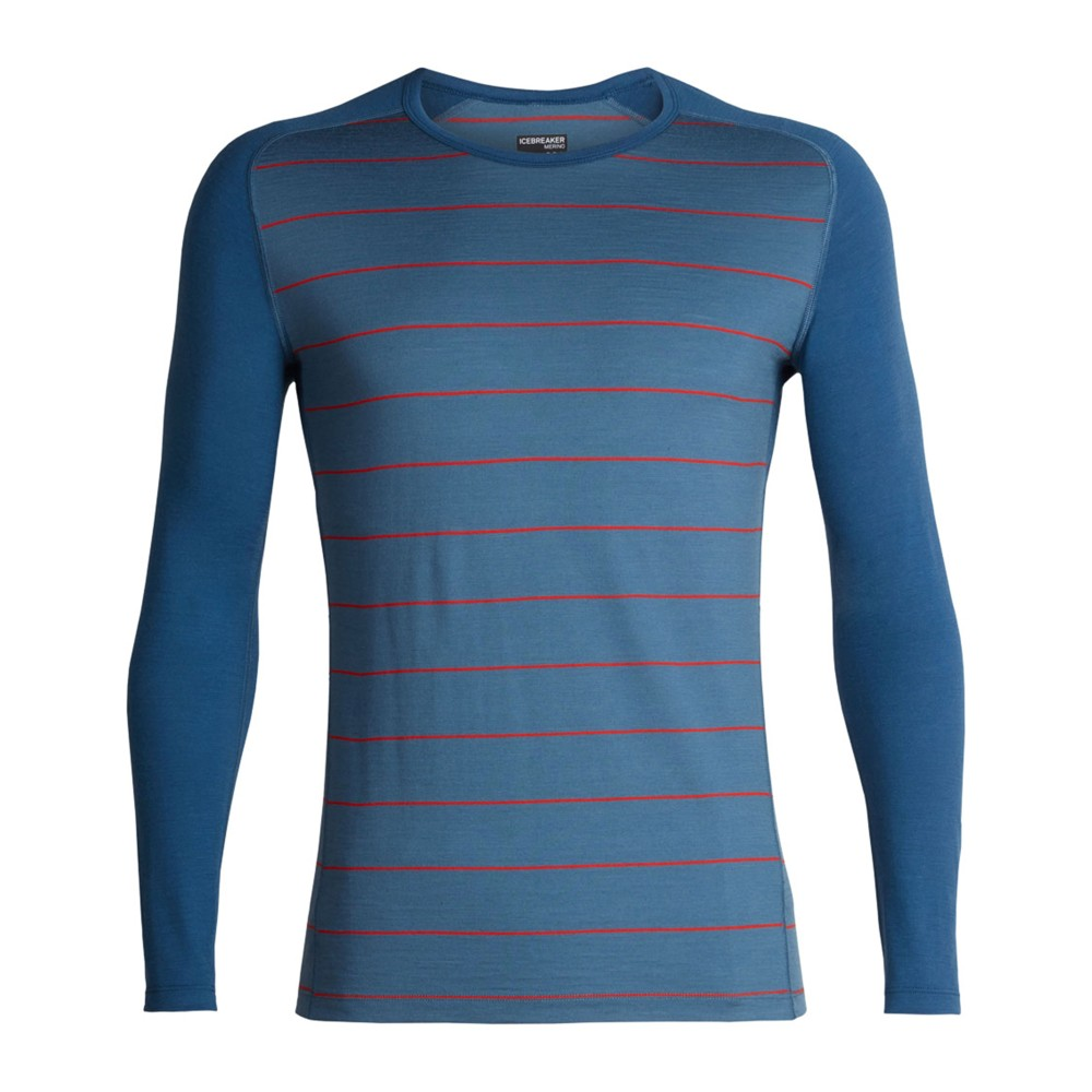 Icebreaker Oasis 200 Deluxe Raglan LS Crewe Mens Granite Blue/Chili Red/Stripe