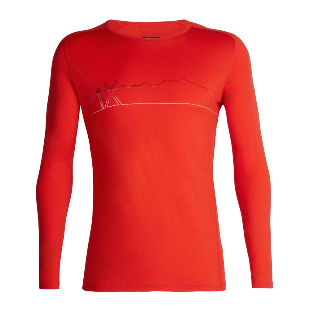 Icebreaker Oasis 200 Deluxe Raglan LS Crewe Single Line Ski Mens Chili Red