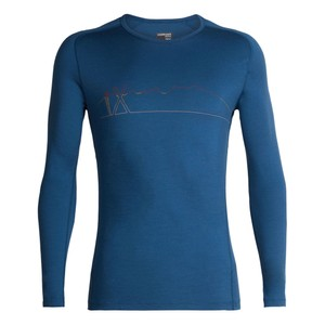 Icebreaker Oasis 200 Deluxe Raglan LS Crewe Single Line Ski Mens in Prussian Blue
