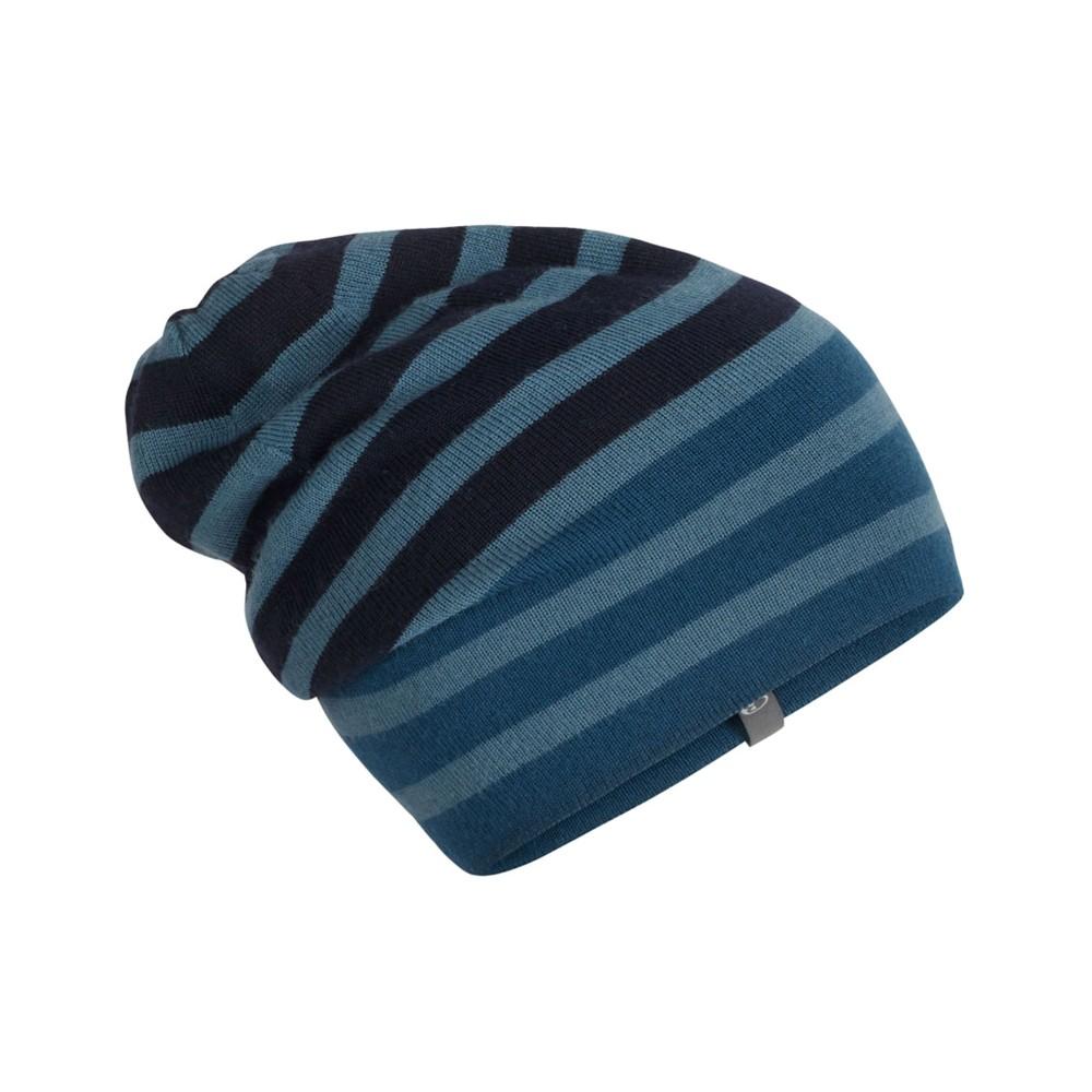Icebreaker Stripe Slouch Beanie Prussian Blue