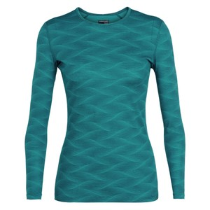Icebreaker Oasis 200 LS Crewe Curve Womens in Kingfisher/Arctic Teal
