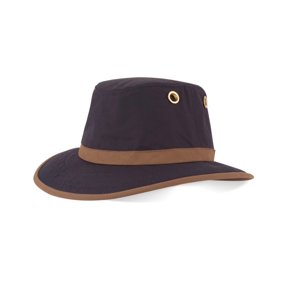 Tilley Endurables Outback Waxed Cotton Hat Navy/Tan