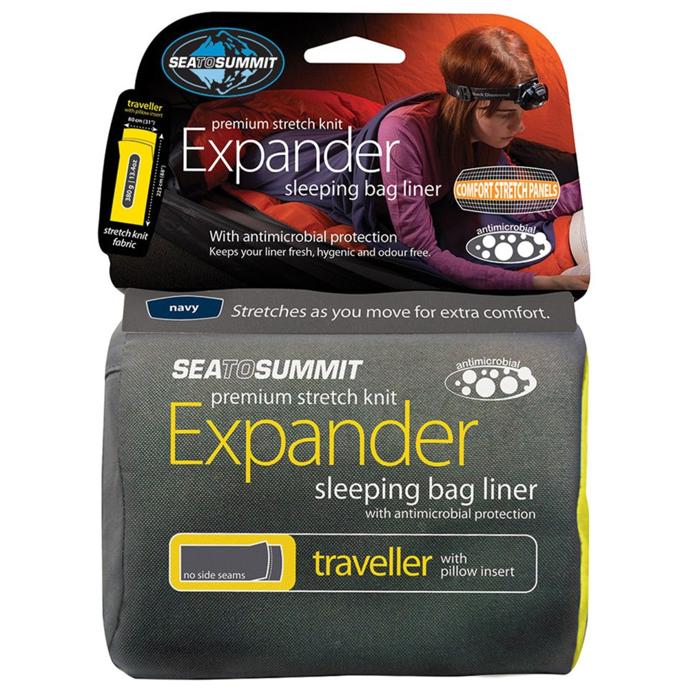 Sea To Summit Expander Liner- Traveller with Pillow Slip Navy Sea Foam