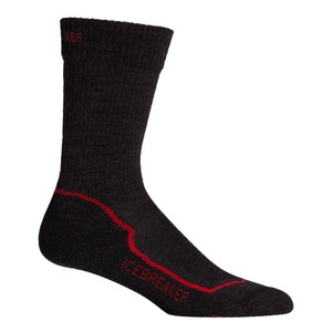 Icebreaker Hike+ Lite Crew Mens in Jet/Red/Black