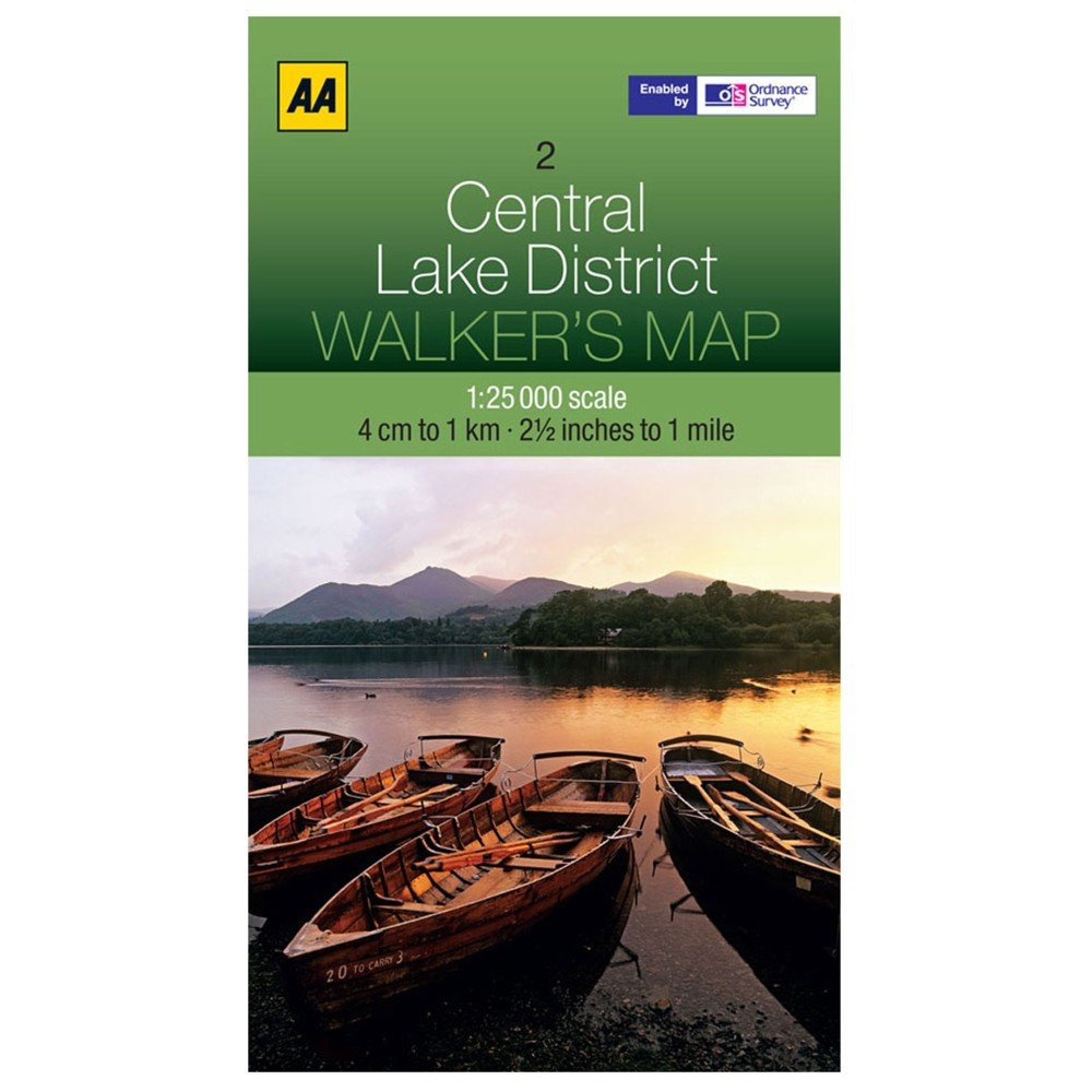 Ordnance Survey AA Central Lake District Laminated N/A
