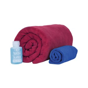 Sea To Summit Tek Towel Wash Kit  in Berry