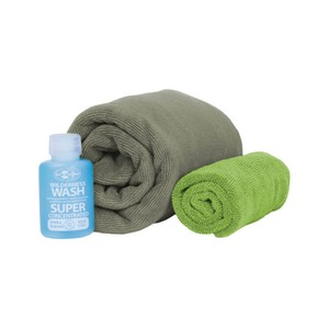 Sea To Summit Tek Towel Wash Kit  in Eucalyptus Green