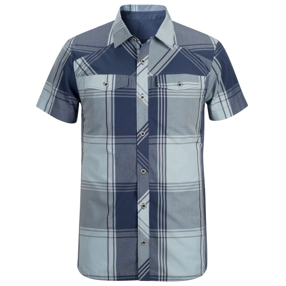 Black Diamond Technician Shirt SS Mens Indigo/Aluminium Plaid