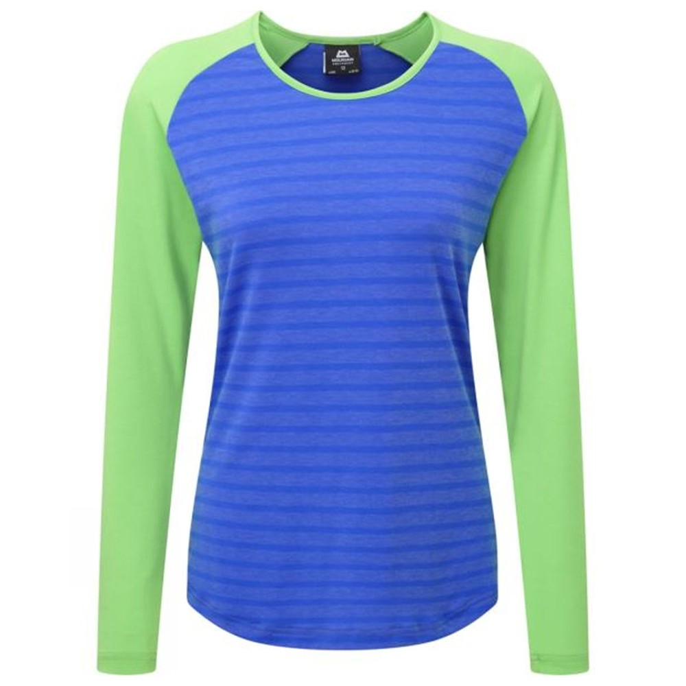 Mountain Equipment Redline LS Tee Womens Celestial Blue/Venom