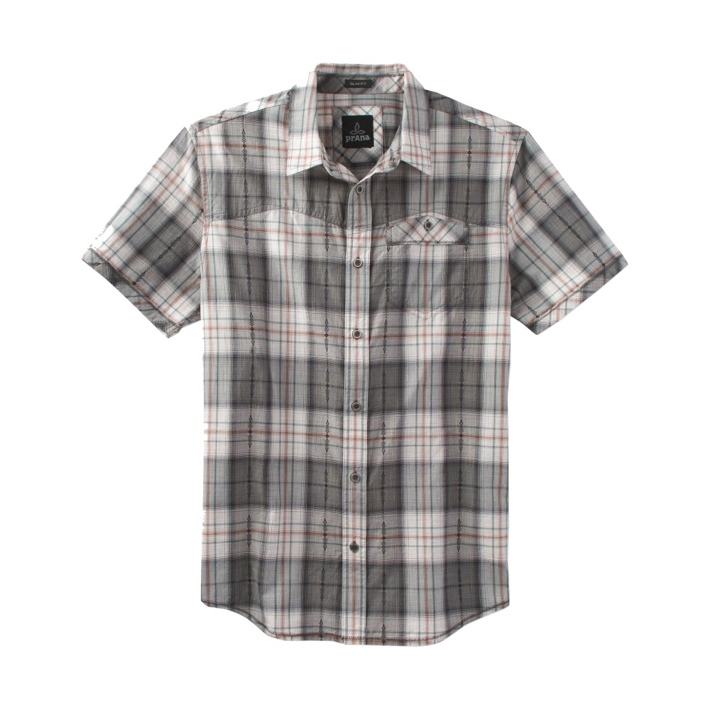 Prana Patras Slim SS Shirt Mens Charcoal