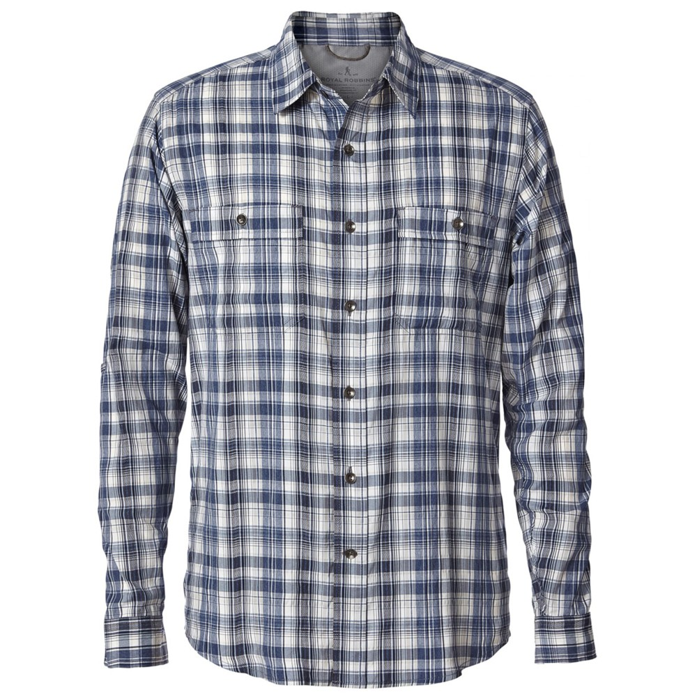 Royal Robbins Vista Dry Plaid LS Mens Deep Blue