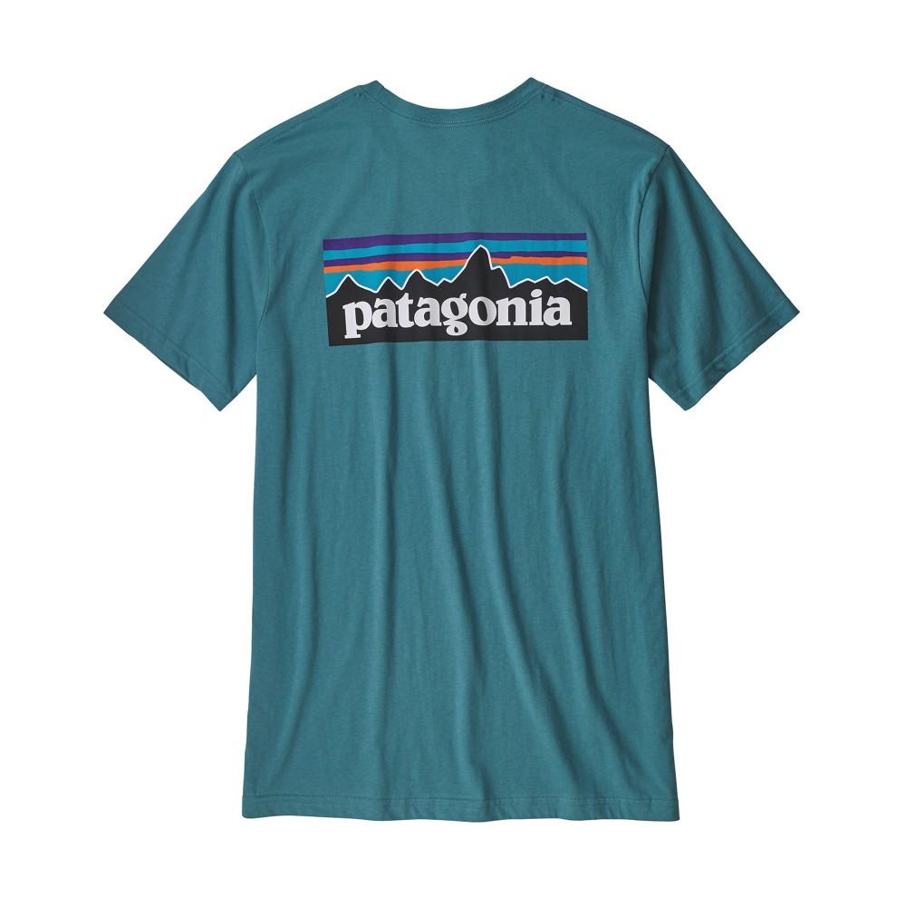 Patagonia P-6 Logo Organic T-Shirt Mens Tasmanian Teal