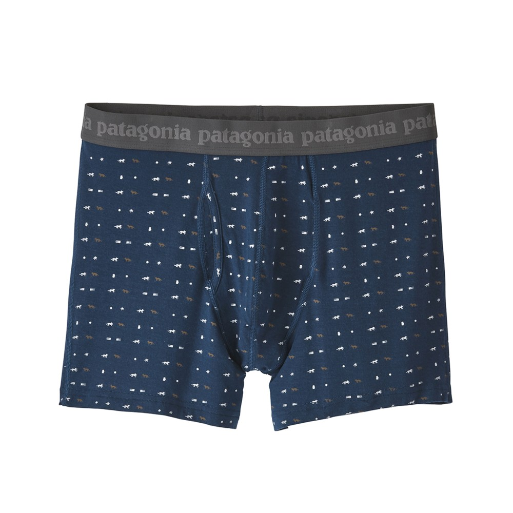 Patagonia Essential Boxer Briefs 3 in Mens Tiger Micro:Stone Blue