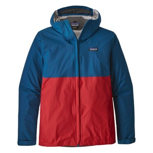 Patagonia Torrentshell Jacket Mens in Big Sur Blue/Fire Red