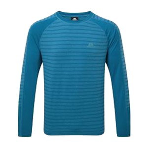 Mountain Equipment Redline LS Tee Mens in Alto Blue Stripe