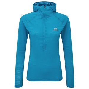 Mountain Equipment Solar Eclipse Hooded Zip Tee Womens in Digital Blue