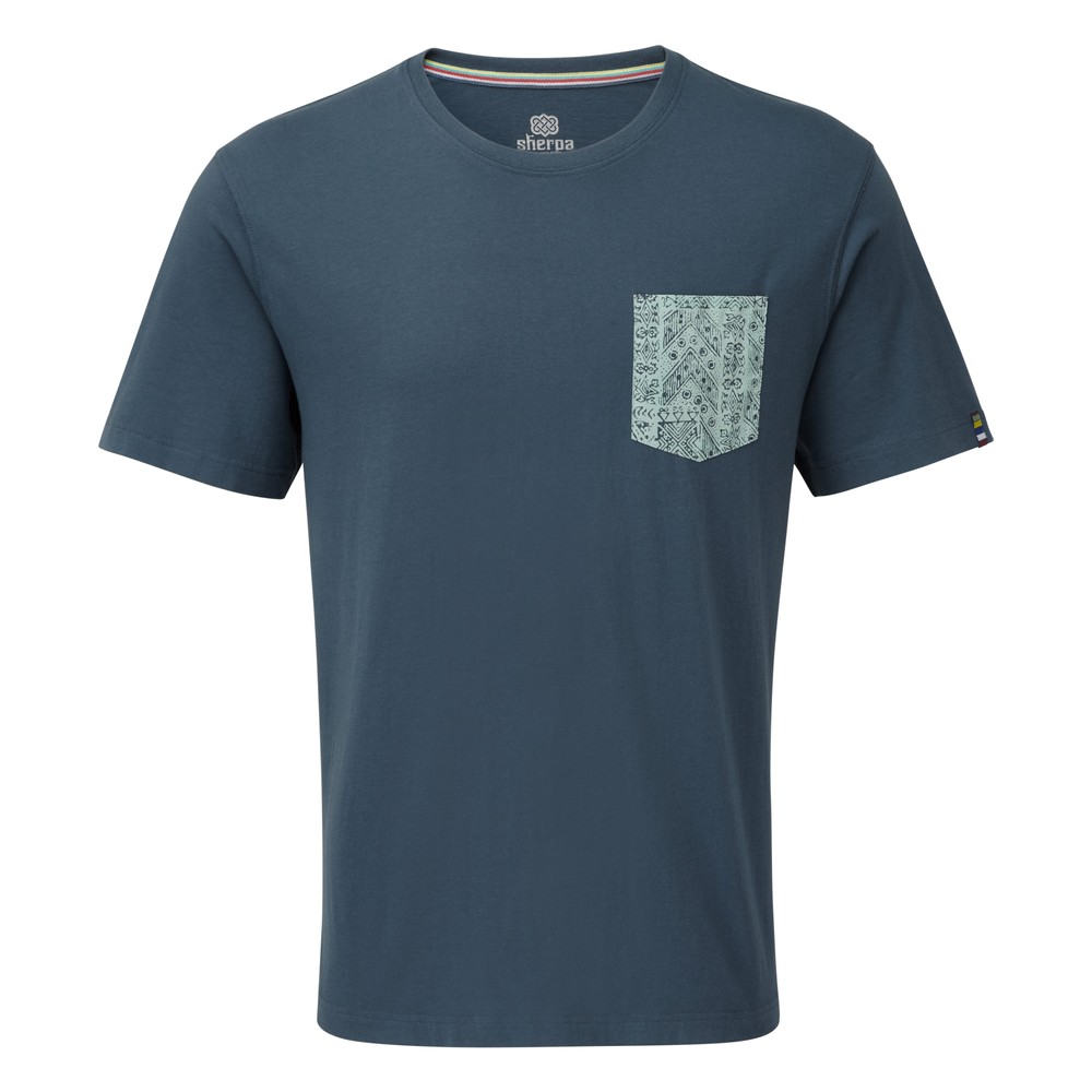 Sherpa Durbar Pocket Tee Mens Neelo Blue
