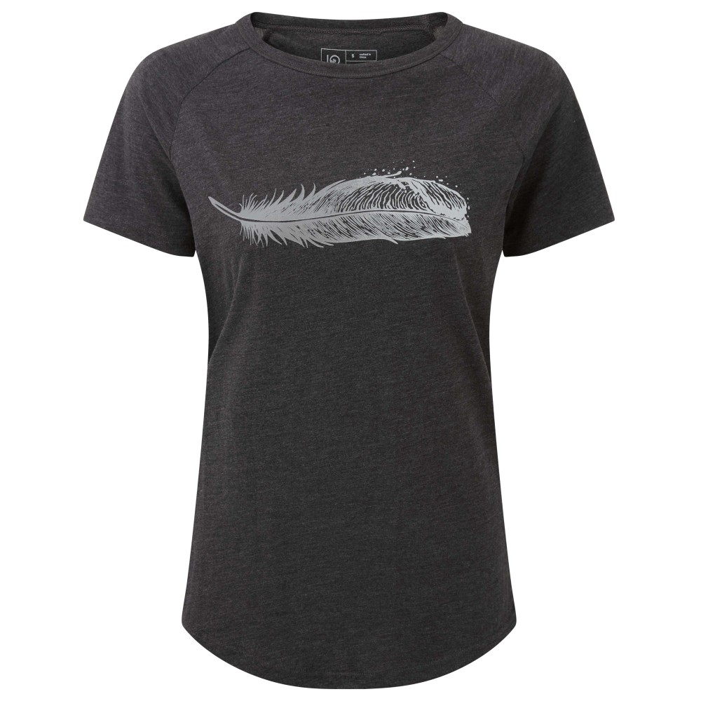 tentree Feather Wave SS Tee Womens Meteorite Black Heather