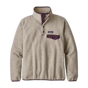 Patagonia LW Synchilla Snap-T Pullover Womens in Oatmeal Heather w Deep Plum