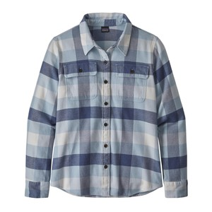 Patagonia LS Fjord Flannel Shirt Womens in Upriver:Woolly Blue