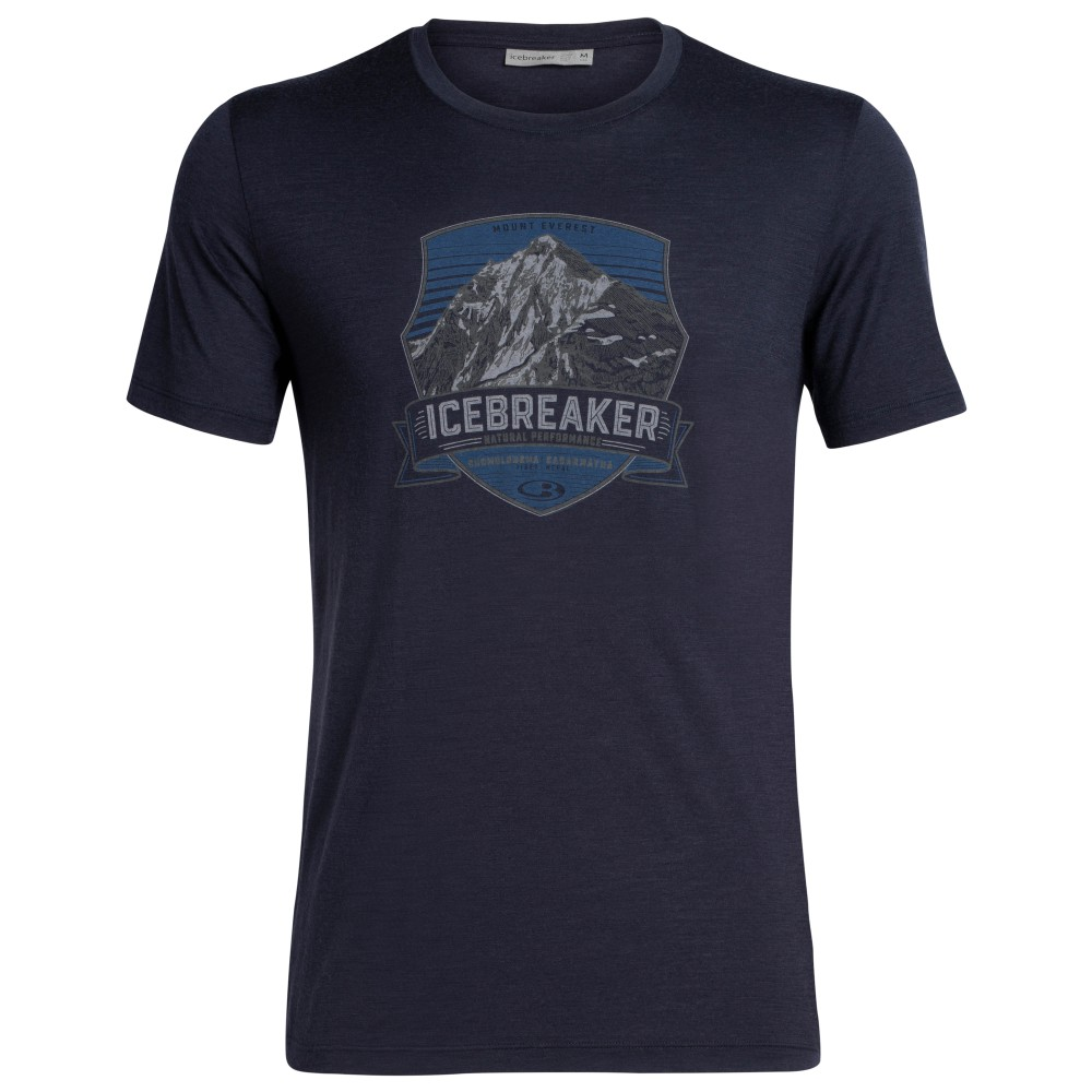 Icebreaker Tech Lite SS Crewe Everest Crest Mens Midnight Navy