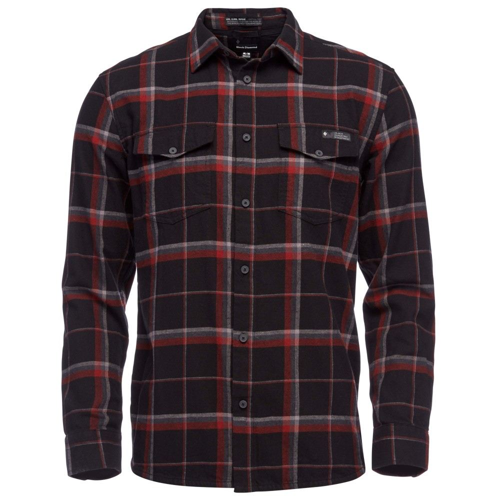 Black Diamond Valley LS Flannel Shirt Mens Black-Nickel Plaid