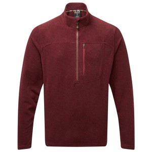 Sherpa Rolpa Zip Tee Mens in Potala Red