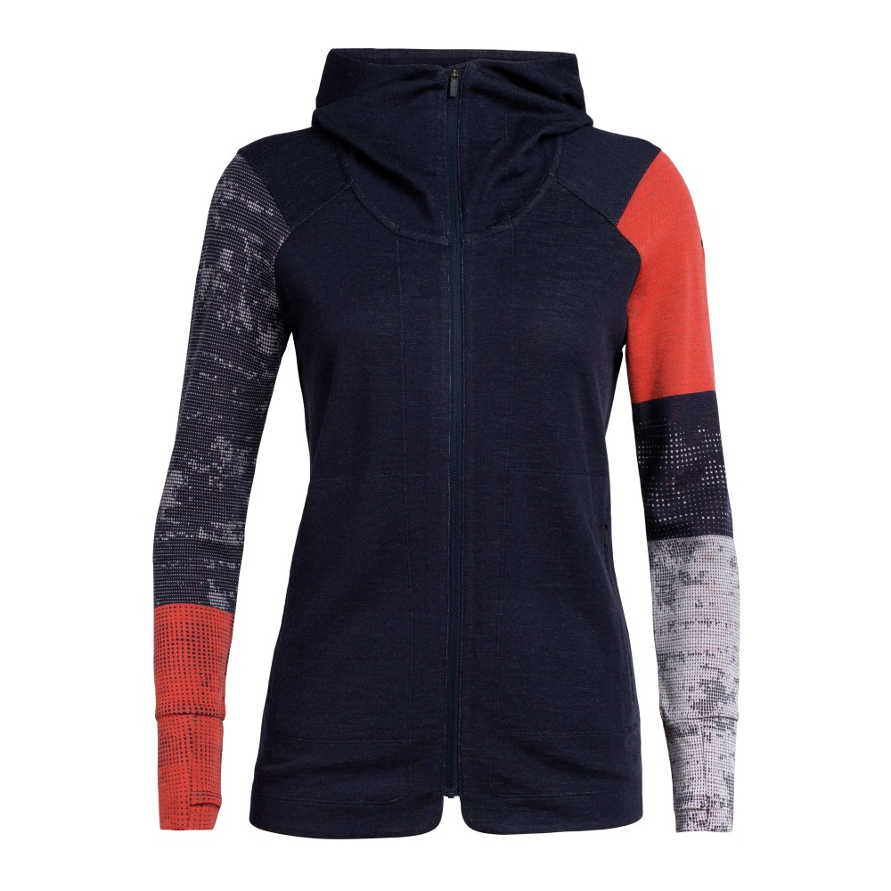 Icebreaker Away II LS Zip Hood Womens Midnight Navy/Fire