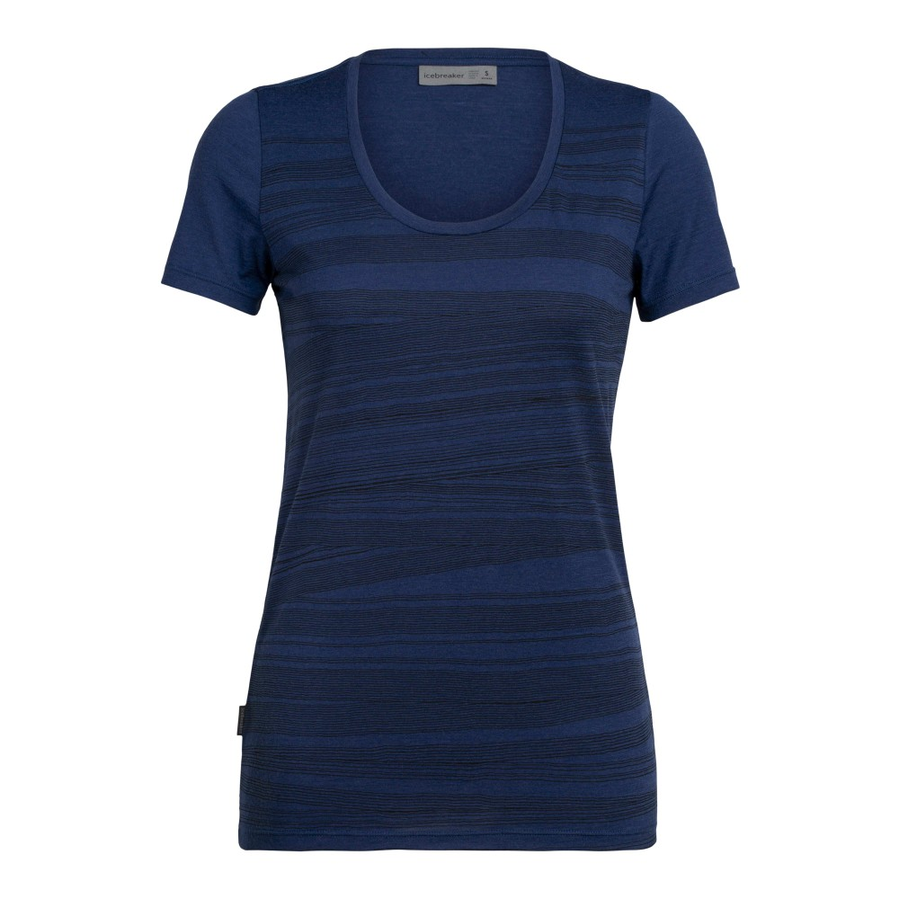 Icebreaker Tech Lite SS Scoop 1000 Lines Womens Estate Blue
