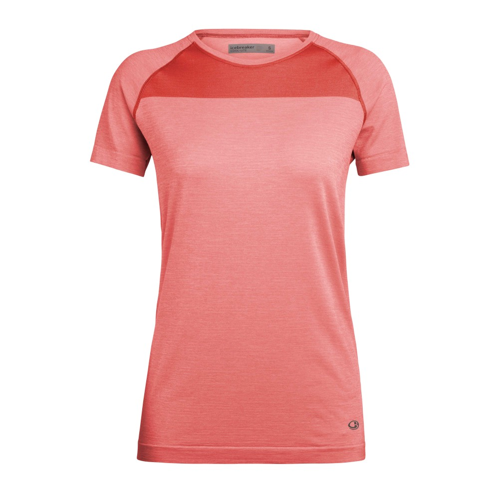 Icebreaker Motion Seamless SS Crewe Womens Fire Heather