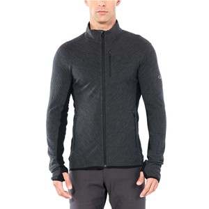 Icebreaker Descender LS Zip Mens in Jet Heather/Black
