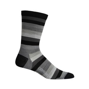 Icebreaker Lifestyle Ultralight Crew Stripe Mens in Black