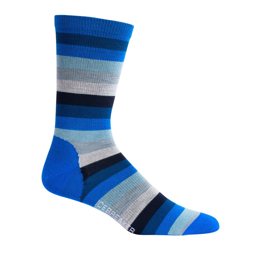 Icebreaker Lifestyle Ultralight Crew Stripe Mens Lapis/Estate Blue