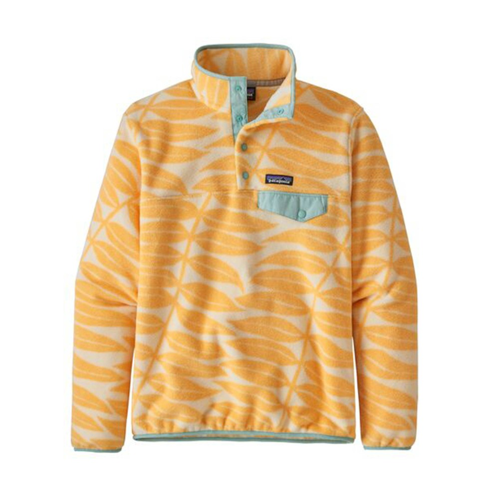 Patagonia LW Synchilla Snap-T Pullover Womens Eucalyptus Fronds:Vela Peach