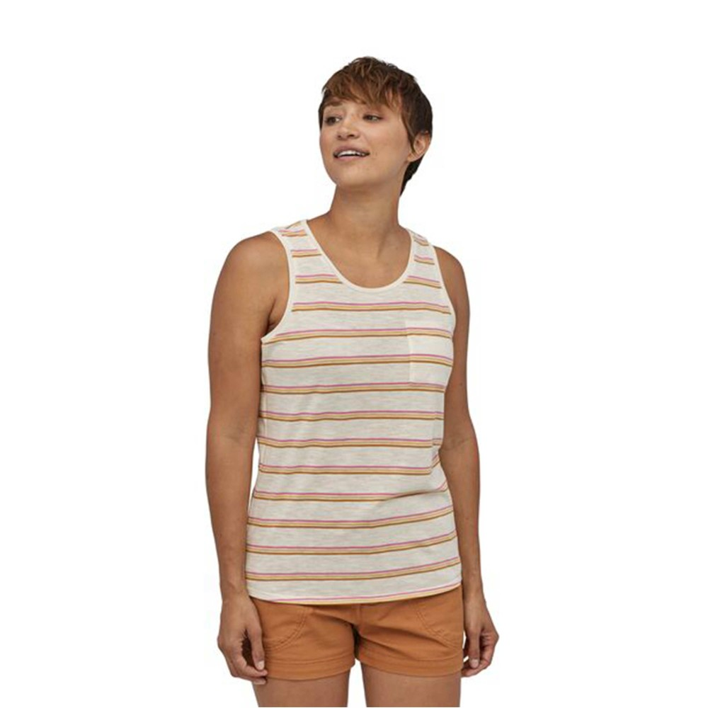 Patagonia Mainstay Tank Womens Pacific Stripe: Marble Pink