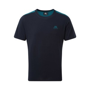 Mountain Equipment Groundup Colourblock Tee Mens in Cosmos/Spruce