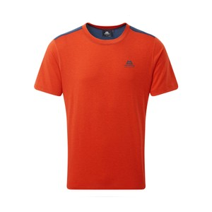 Mountain Equipment Groundup Colourblock Tee Mens in Paprika/Denim Blue