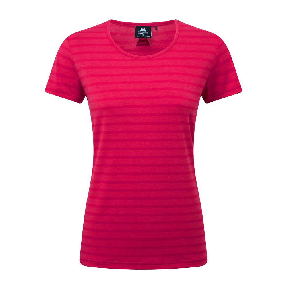 Mountain Equipment Groundup Stripe Tee Womens Virtual Pink Stripe