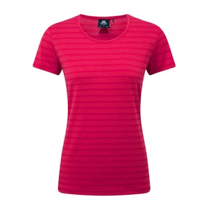 Mountain Equipment Groundup Stripe Tee Womens in Virtual Pink Stripe